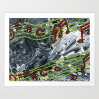 music notes Art Prints featuring Music Notes by Paxelart