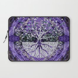 Silver Tree of Life Yggdrasil on Amethyst Geode Laptop Sleeve