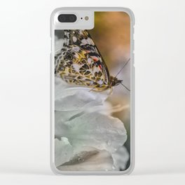 Butterfly in Soft Rain Clear iPhone Case