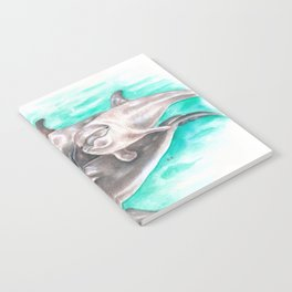 Dolphins Teal Watercolor Notebook