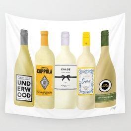 White Wine Bottles Illustration Wall Tapestry