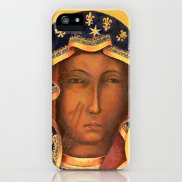 Virgin Mary Face Our Lady of Czestochowa Catholic wall art Religious Christmas Gift iPhone Case