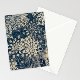 Dreamy Old Lace Flower and Navy Blue Denim Floral Stationery Cards