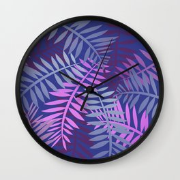 Violet pink palm leaves pattern Design #leaves Wall Clock