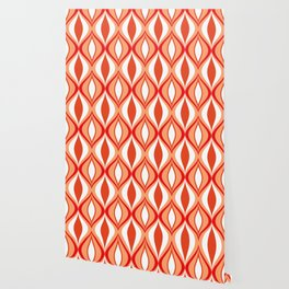 Mid-Century Modern Diamonds, Orange and White Wallpaper