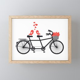 Cute birds on bicycle Framed Mini Art Print