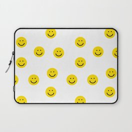 Smiley faces white yellow happy simple smiley pattern smile face kids nursery boys girls decor Laptop Sleeve