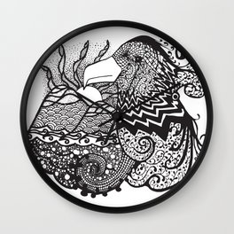 Conscious State Of Dreaming BW Wall Clock