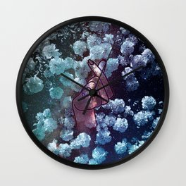 Love Finger Snap Space Floral Wall Clock