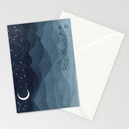 Moon over the mountains, landscape, indigo night Stationery Cards