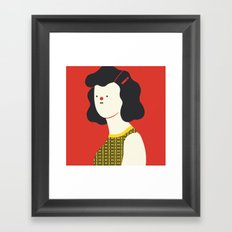 Red woman Framed Art Print