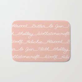 Feminist Book Author Surname Hand Written Calligraphy Lettering Pattern - Pink Bath Mat
