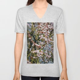 Photo of spring cherry blossom flowers during golden hour in Almere, Japanese Sakura trees in the Netherlands | Fine Art Colorful Travel Photography | Unisex V-Neck