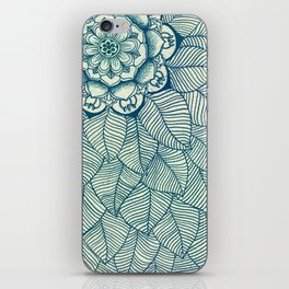 Emerald Green, Navy & Cream Floral & Leaf doodle iPhone Skin