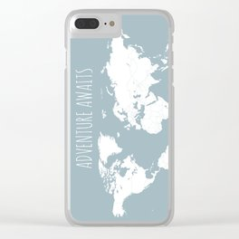 Adventure Awaits World Map in Slate Blue Clear iPhone Case