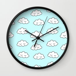 Clouds dreaming in blue with closed eyes and eyelashes Wall Clock