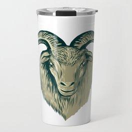 Cashmere Goat Head Drawing Travel Mug