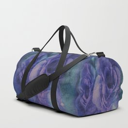 Vintage Blue and Purple Rose Abstract Duffle Bag