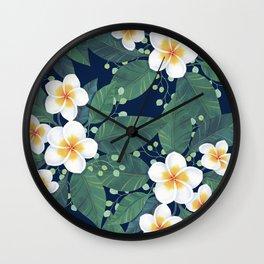 Plumeria Pattern Wall Clock
