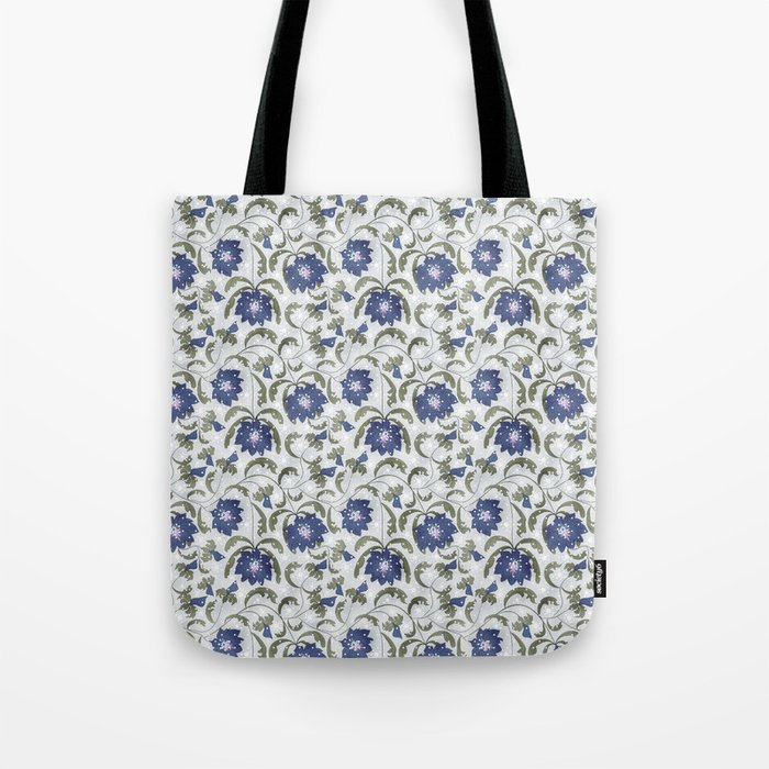 Retro . Floral pattern in blue tones . Tote Bag