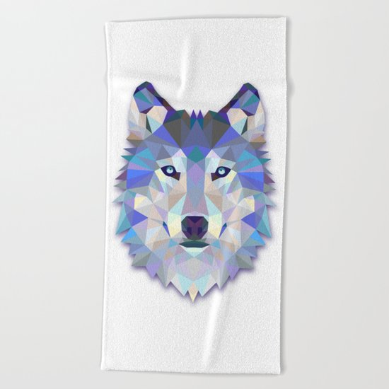 Colorful Wolf Beach Towel