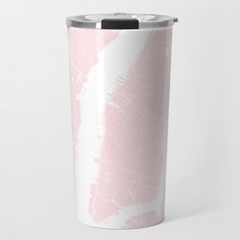 New York City Pink on White Street Map Travel Mug
