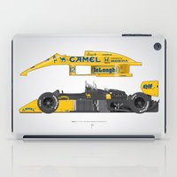 senna iPad Cases featuring Outline Series N.º5, Ayrton Senna, Lotus 99T-Honda, 1987 by Ricardo Santos