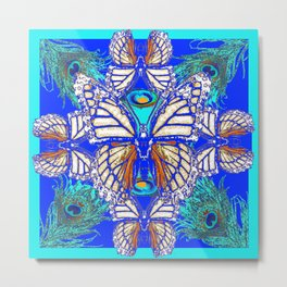 TURQUOISE & CREAM COLORED BUTTERFLIES  BLUE PEACOCK ART Metal Print