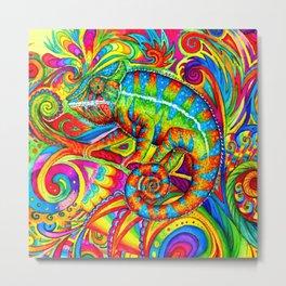 Psychedelizard Colorful Psychedelic Chameleon Rainbow Lizard Metal Print
