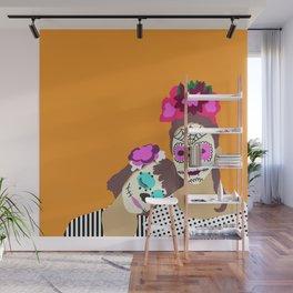 Sugar Skull Halloween Girls Orange Wall Mural