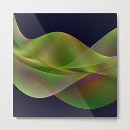 Rainbow reflection in a green wave Metal Print