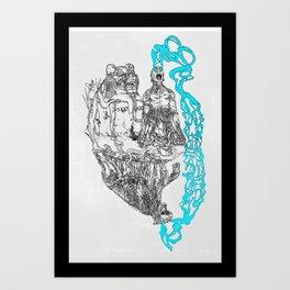 Shaman Like Jaguar (Black) Art Print