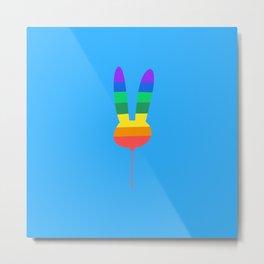 Rainbow Bunny Balloon Metal Print