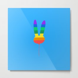 Rainbow Bunny Balloon Metal Print