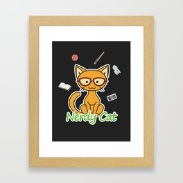 Nerdy Cat - Orange Framed Art Print
