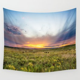 Tallgrass Prairie - Sunset and Bison on the Plains Wall Tapestry