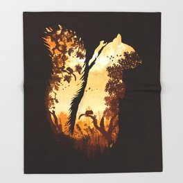 Squirrels in the Fall Throw Blanket