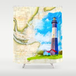 Tybee Island Lighthouse - Vintage Nautical Map Collage Shower Curtain