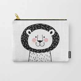 Black and White LION illustration, Kids Room Print, Monochromatic Wall Children Drawing, Baby Nursery Safari Animals Carry-All Pouch
