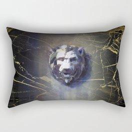 Lion head Black Marble Rectangular Pillow