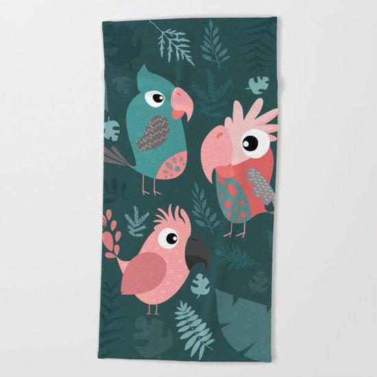TROPICAL PARROTS Beach Towel