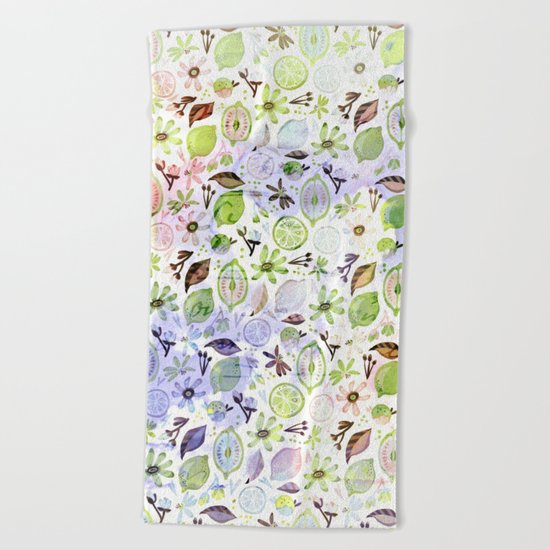 Lemons and flowers- floral Summer pattern on #Society6 Beach Towel