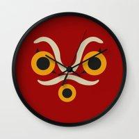 princess mononoke Wall Clocks featuring Princess Mononoke  by Fabio Castro