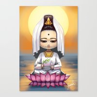 budi satria kwan Canvas Prints featuring Kwan Yin  by Lurraeh Somohano