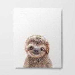 Baby Sloth, Baby Animals Art Print By Synplus Metal Print
