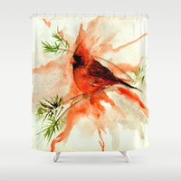 cardinal Shower Curtains featuring Cardinal by Leanne Engel