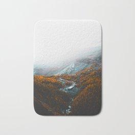 Aerial View Of Orange Autumn Forest Appalachian Mountains Bath Mat