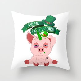St Patrick's Day Kiss Me I'm A Unicorn Pig Throw Pillow