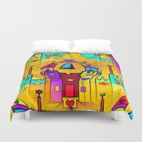 popart Duvet Covers featuring Castle Popart by Nico Bielow by nicobielow
