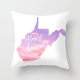 West Virginia Almost Heaven Pink Sky Print Throw Pillow
